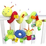 Daisy Infant Baby Crib Mobile Ornament Hangings Rattle Toy Spiral Activity Bar Plush Caterpillar Animal Stroller and Travel Toy for Pram