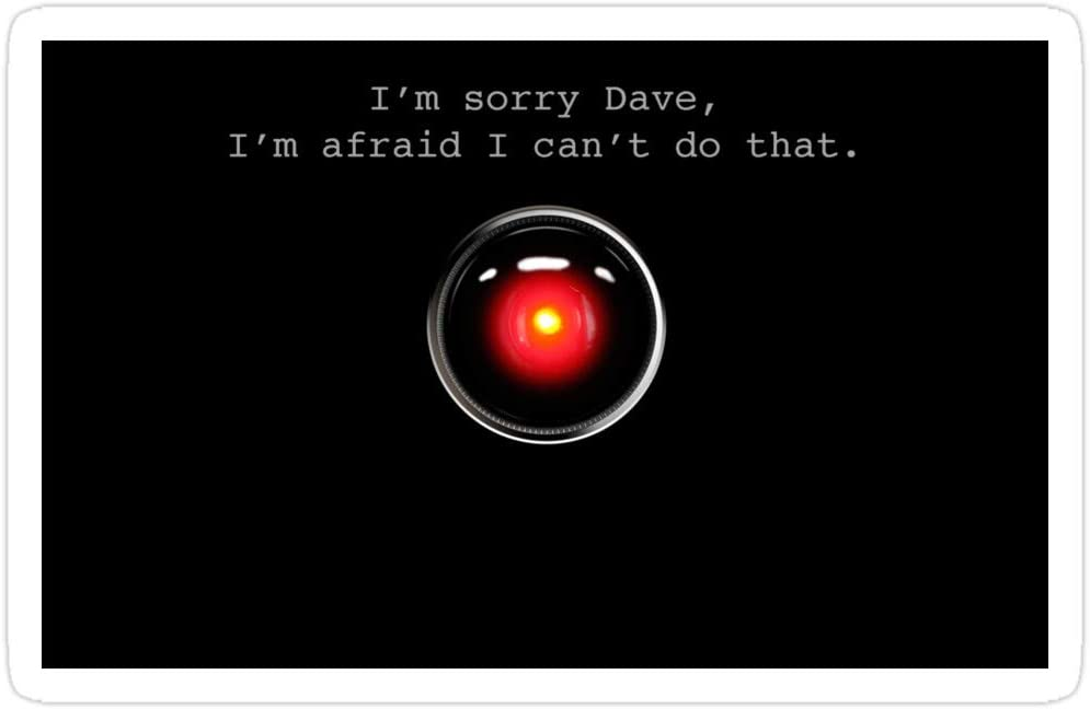 Amazon.com: 3 pegatinas con texto en inglés «I'm Sorry Dave – A Space Odyssey, hal Sticker for Laptop, Phone, Cars, Vinyl Funny Stickers Decal for Laptops, Guitar, Fridge: Kitchen & Dining