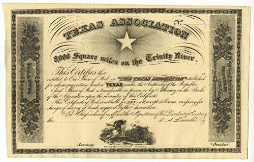 Texas Association Stock Certificate - 1 Share Stock Certificate (Circa 1858)