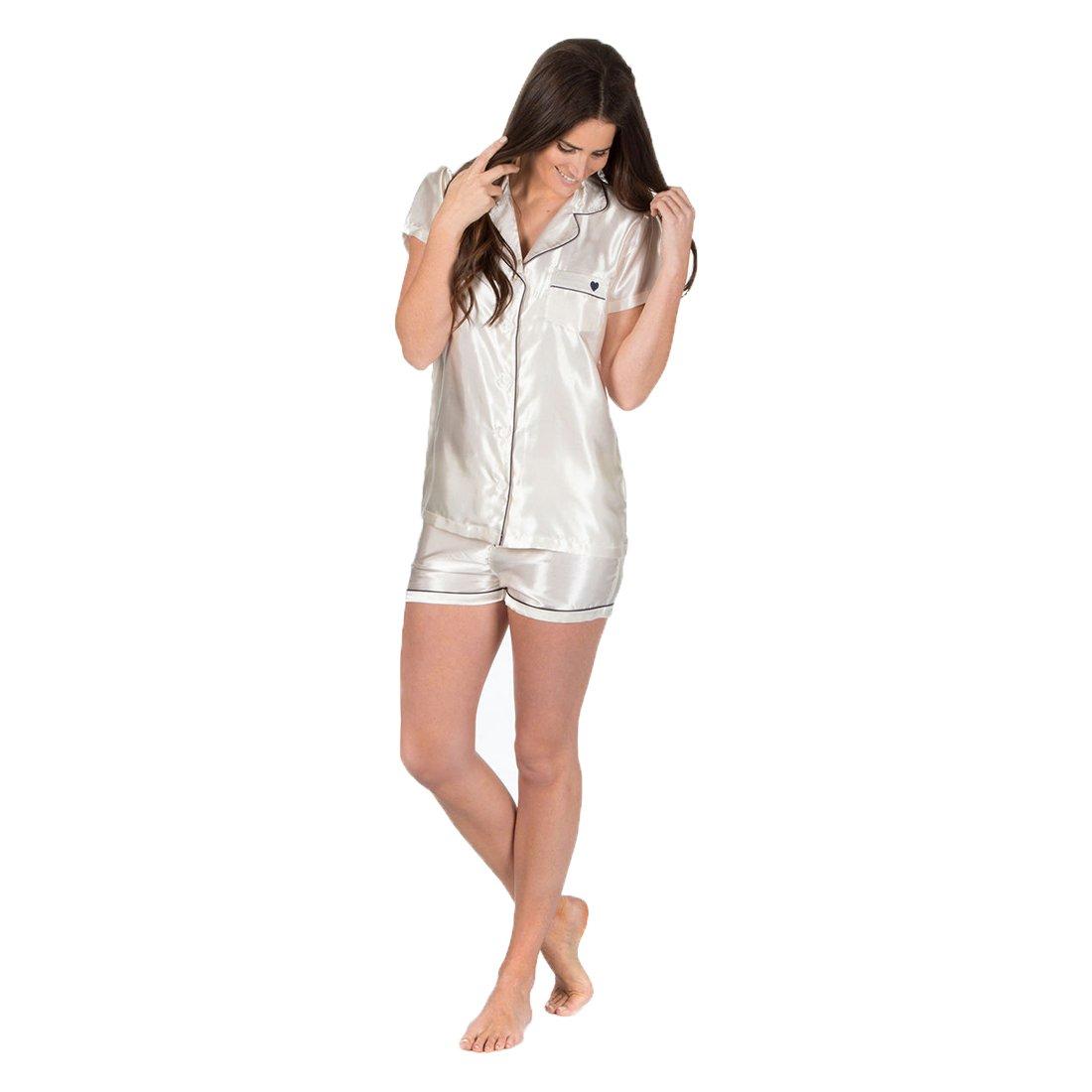 Ladies Forever Dreaming Silky Satin Pyjama Top Shorts Nightwear Sleepsuit Pjs