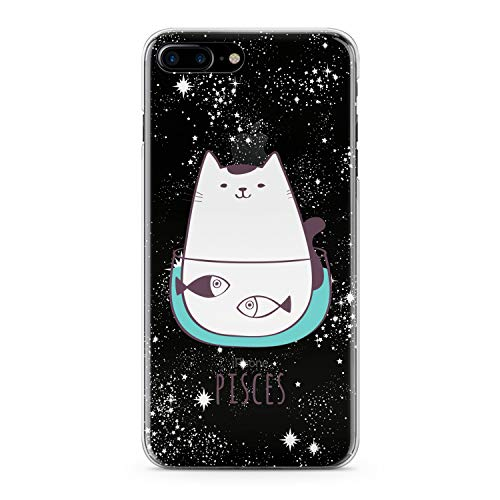 Lex Altern TPU Case for iPhone Apple Xs Max Xr 10 X 8+ 7 6s 6 SE 5s 5 Zodiac Sign Clear Pisces Phone White Cat Astrology Flexible Constellation Girls Stars Gift Cover Print Protective Women Silicone