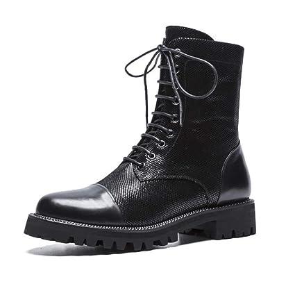 HNM Shoes Botas Militar para Mujer,Mujer Botines Combate Cordones Zapatos Estilo Vaquero Motero Gabardina