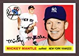 Mickey Mantle 1955 Topps Classic Design Custom Card (Red Background) (Yankees)