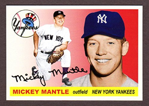 Mickey Mantle 1955 Topps Classic Design Custom Card (Red Background) - Topps Finest 2003 Card