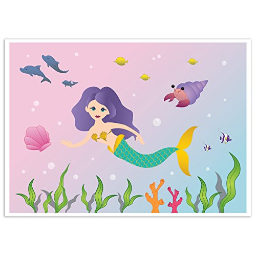 Blue Panda Mermaid Under The Sea Background - Photography Backdrop - Great for Mermaid Theme Birthday Parties 5 x 7 Feet]()