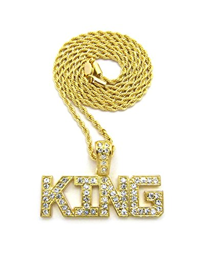 King Costume Jewelry (Crown Gold-Tone KING Pendant 24