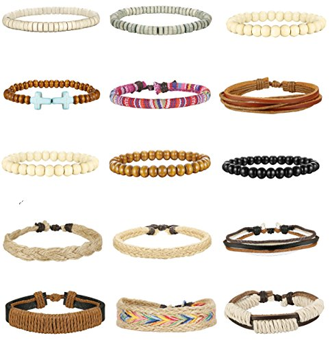 FIBO STEEL 15 Pcs Braided Leather Bracelets for Men Women Woven Cuff Bracelet Adjustable,SZ
