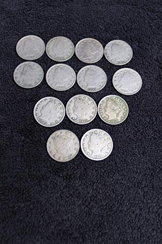 - 1900 1901 1902 1903 1904 1905 1906 1907 1908 1909 1910 1911 1912 Complete Decade Plus Liberty (Barber) Head V-Nickels All Full LIBERTY 13-coins 5c All Fine or better