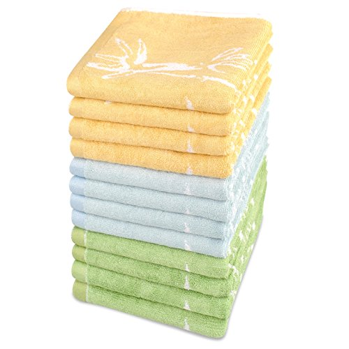 Blue Bamboo Tree (Bamsilk Bamboo Cotton Washcloths-Bamboo Tree Jacquard Pattern,Ultra Soft and Water Abosrbent,Set of 12 (Gold Blue and Green))
