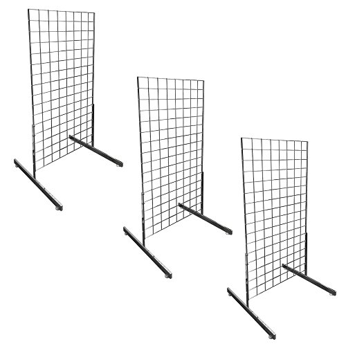 3 Set Square Gridwall 2' x 4' Grid Panel Floorstanding Wire Board Shelving Stand T-Shaped Base by M&H Global