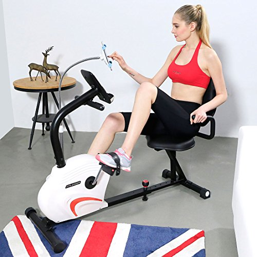 Fitleader FR1 Seat Extended Capacity Recumbent Stationary Bike Indoor Exercise Cycling