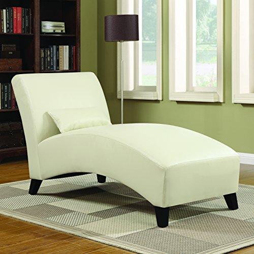 Handy Living Cara Chaise in Cream Renu Leather