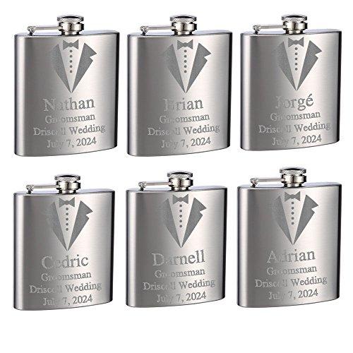 Top Shelf Flasks Personalized Custom Engraved 6oz Stainless Steel Groomsman Tuxedo Flasks for Weddings, True Metal Etching Lasts a Lifetime, Set of 6 ()