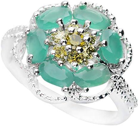 BQZB Anillo Flor Verde Anillo de Plata esterlina de Piedra semipreciosa de 3 * 5 mm