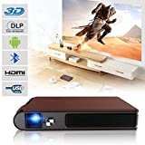 Pico Mini DLP Android Projector with Battery 3D Bluetooth 5G WiFi Smart Video Projectors Portable 300 Ansi Lumen 1280x720 HD Support 1080P HDMI USB for Backyard Movie Home Theater Gaming Presentation