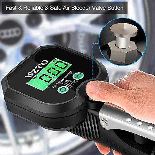 WZTO Digital Tire Pressure Gauge High Precision Tire Inflator Gauge 255 PSI with LCD Screen, Air Chunk, and Rubber Hose for Any Car, Truck, Motorcycle by WZTO (Image #3)