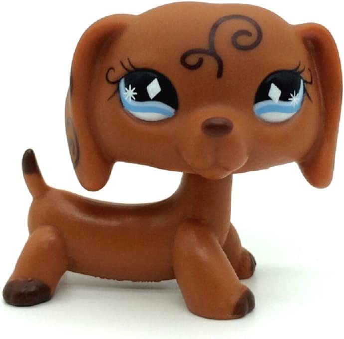 ZAD #640 Rare Littlest Pet Shop Brown Dachshund Dog Puppy Diamond Eyes Animal LPS