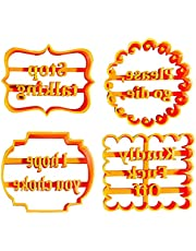 1/4Pcs Cookie Molds with Good Wishes, Funny Cookie Moulds for Baking, Cookie Form with Fun and Irreverent Phrases Cookie Moulds, Cutters Shapes Baking Set for Kitchen DIY (1Set(4pcs))