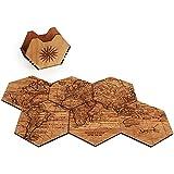 WOODCHUCK Wooden World Map Coasters (Mahogany), Handmade in the USA, 100% Real Wood - Set of 6