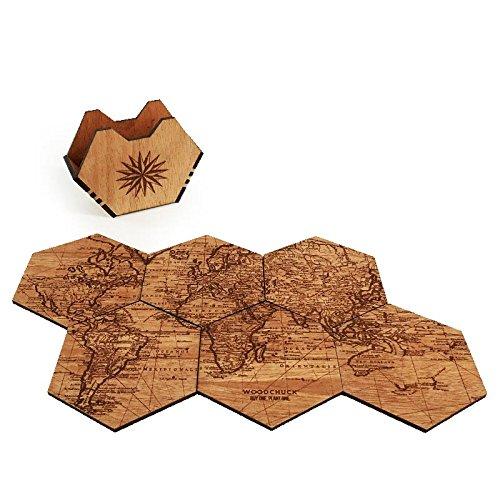 WOODCHUCK Wooden Coasters Mahogany Handmade product image