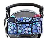 Universal Baby Stroller Organizer Bag with 2 Insulated Cup Holders and Adjustable Shoulder Strap for Baby Accessories, Phones and Keys, The Perfect Baby Shower Gift