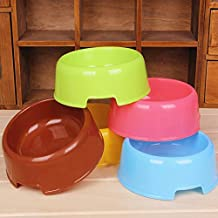 SymWell(TM) 5 Colors Pet Dog Feeding Bowl Candy Color Plastic Puppy Water Eeating Feeder Dish Bowls For Cats
