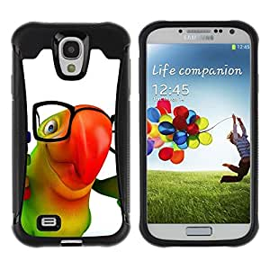 Fuerte Suave TPU GEL Caso Carcasa de Protección Funda para Samsung Galaxy S4 I9500 / Business Style Cute Friendly Parrot