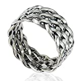 925 Sterling Silver 11 mm Wide Braided Woven Celtic Knot Band Thumb Ring - Nickle Free Size 10