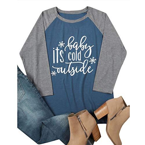 Motivo E M Con Maniche Donna Dimensione Lunga Lunghe Scollo V Da A Maglietta colore Casual Manica Blu Grafico qPXUT7H
