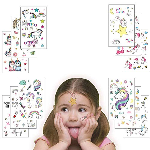 Unicorn Temporary Tattoos for Kids, Girls Cute Fake Body Art Tattoos Stickers 12 Sheets for Unicorn Themed Birthday Party Supplies Party Favors Kids -