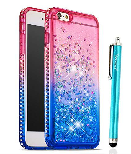 Glitter Case for iPhone 6/6S Plus, Cattech Liquid Quicksand Waterfall Flowing Sparkle Shiny Bling Diamond Luxury Pretty Fashion Cute Girls Women for iPhone 6/6S Plus Case 5.5 inch + Stylus (Pink/Blue)