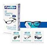 Optico Professional Pre-Moistened Optical Cleaning wipes ( each wipe 9cm x 13cm - 1 ml fill ) Gently Clean Glasses, Lenses, Sunglasses, Reading Glasses, Eye Glasses, Lens, Glass Surface, Screen Protector, and other Glass Surface - Anti- fog, Anti- Static lens Cleaning Solution - 48 Count of Cleaning wipe Ammonia-free wipes clean without leaving streaks or residue | 1 Box
