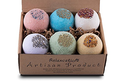 Organic Bath Bombs Gift Set Vegan (3.2 oz) / Bath Bombs For Sensitive Skin - Safe for Kids - Bath Bomb For Women with Bath Salts: Dead Sea Salt - Natural Bath Bombs Set - Bath Bombs Kit for Christmas ()