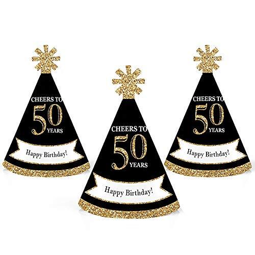 50th Birthday Hats (Adult 50th Birthday - Gold - Mini Cone Birthday Party Hats - Small Little Party Hats - Set of)