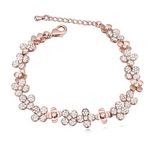 Bracelet Diamonds Sweet (Wanrane Elegant Cosmetics Jewellery European and American Jewelry Crystal Bracelet Sweet Floral Rose Gold Diamond Bracelet(White))