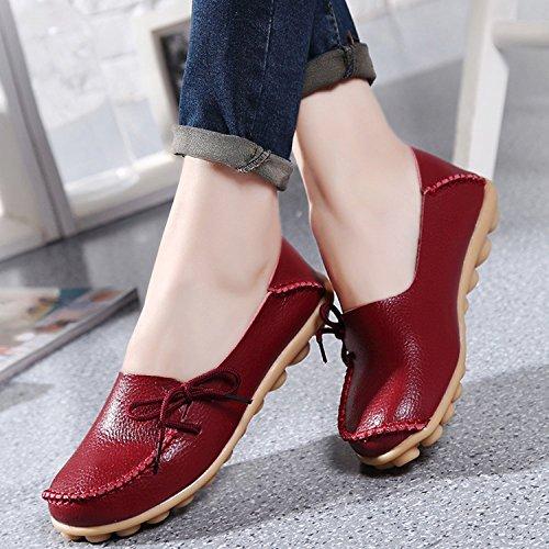 Oriskey Mocasines de cuero mujer Loafers Casual Zapatos Zapatillas Vino Rojo