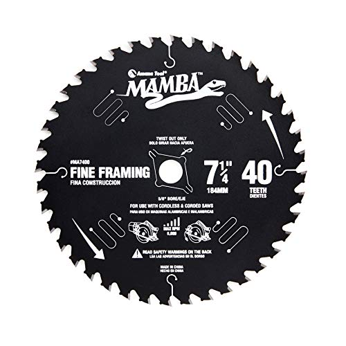 Amana Tool MA7400 Carbide Tipped Thin Kerf Fine Framing and Decking Mamba Contractor Series 7-1/4 Inch D x 40T, ATB, 15 Deg, 5/8 Bore with Diamond Knockout Circular Saw Blade ()