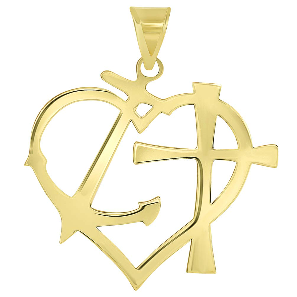 Solid 14k Yellow Gold Cross Anchor Heart Faith Hope and Love Silhouette Pendant