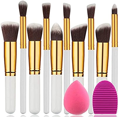 7c8eef7bdd3c5 BEAKEY 10 piezas premium sintético Silky juego de cepillo de maquillaje  profesional pinceles de maquillaje cepillo de polvo kit de maquillaje  ovalada y de ...