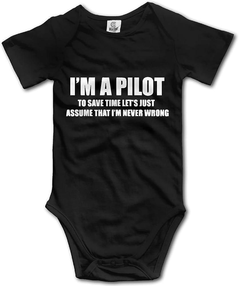 SmallHan Pilot Flight School Unisex Fashion Infant Romper Baby Girl Bodysuit Black