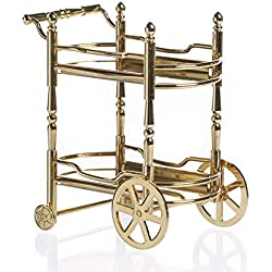 Shiny Gold Metal Dollhouse Miniature Food and Beverage Cart for Embellishing Miniature Works