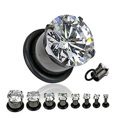Black Titanium Over 316L Surgical Steel Prong Set Gem Plugs with O-ring - Sold as Pairs (0G)