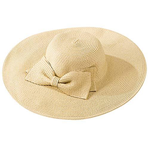 (Rebecca Women Foldable Wide Brim Straw Hat Roll-up Summer Beach Cap Bowknot Sun Hat UPF 50 (Beige))