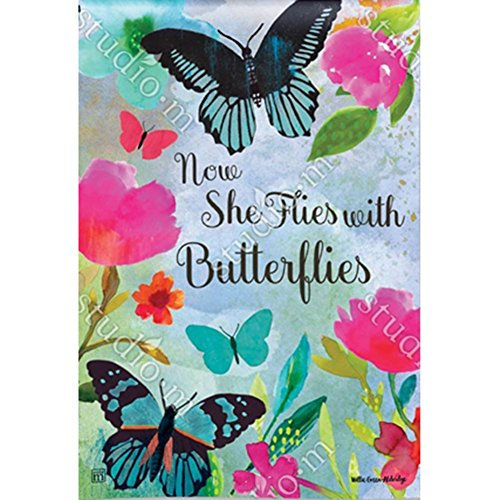 Magnet Works Garden Flag - She Flies with Butterflies