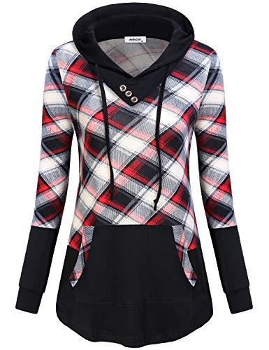 AxByCzD Plaid Sweatshirt Dress,Lightweight Thin Pullover Hoodie Nice Patchwork Plain Sweater Fashion 2018 Elegant Blouse Contrast Color Lattice Tunic Tops Curved Hem Office Wear Red Black Plaid XXL