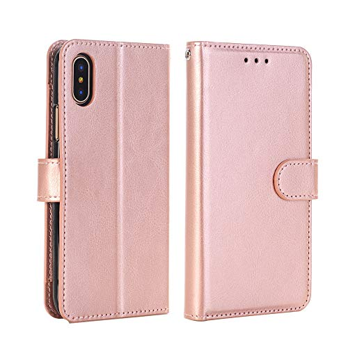 Vintage Pleated Portable Leather Wallet Phone Handbag, Slot Stand Flip Cover Skin Case For iPhone XS 5.8 inch (Rose ()