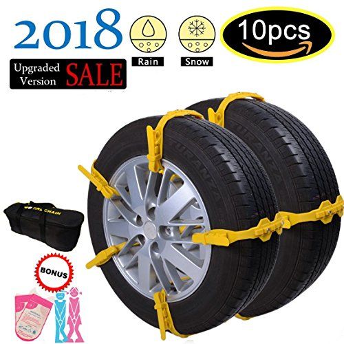 Quick Snow Tire Chains + Emergency Urinal Bags, Easy Installation / Removal Even Women, Reusable 10Pcs Anti-Skid Cable Chains, Universal Size Fit All Your Family Automobiles Rim 13''-22''