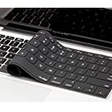 "Kuzy - Solid BLACK Keyboard Cover Silicone Skin for MacBook Pro 13"" 15"" 17"" (with or w/out Retina Display) iMac and MacBook Air 13"" - Solid Black"