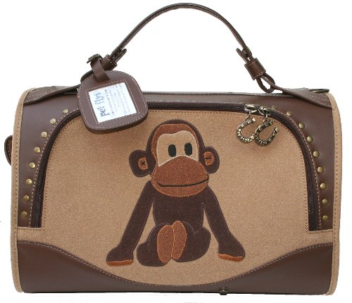 Pet Flys Uncle Monkey Carrier-Sand/Nutmeg/Monkey Design Hard Sided Airline Carrier in Super Size. by Pet Flys