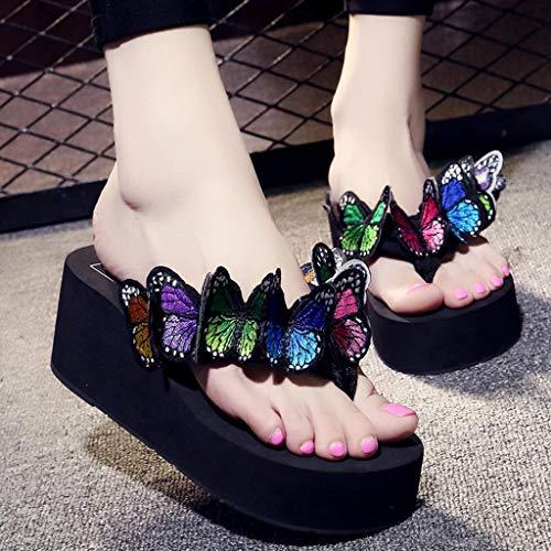 Sandals Dolce Flip Ciabatte Estate Casuale Cunei Caramella Floreale Donne Farfalla Pantofole Sandali Shoes Spiaggia Eleganti Ragazze Scarpe Pantofola Flops Nero x1ZawOIq